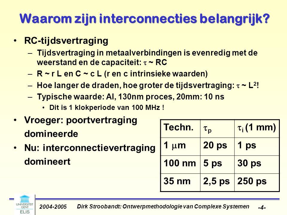 Dirk Stroobandt: Ontwerpmethodologie van Complexe Systemen 2004-2005 -5- Tijdsvertraging in verbindingen domineert Gate delayInterconnect delay (Al & SiO 2 ) Interconnect delay (Cu & Low k) 0 5 10 15 20 25 30 35 40 45 Delay (ps) 650500350250180130100 Generation (nm)