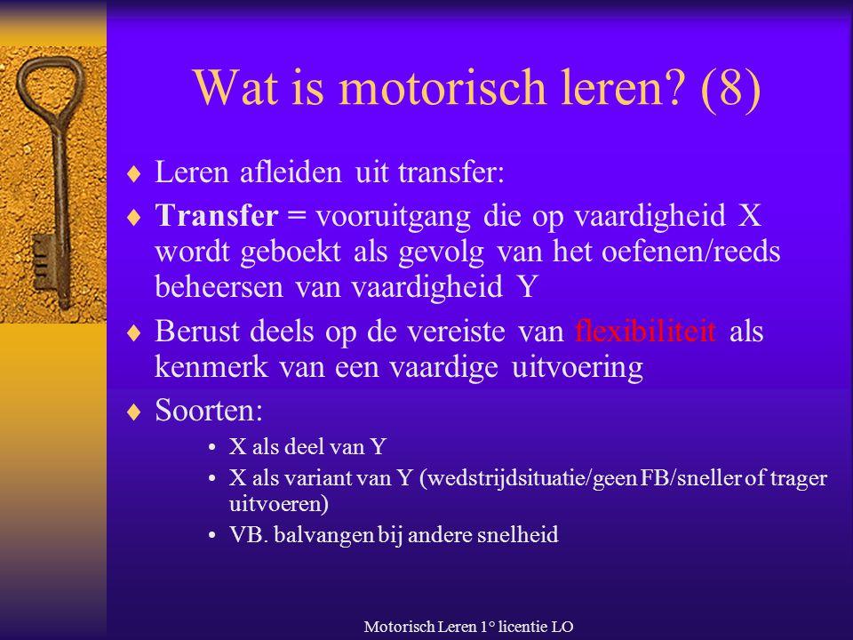 Motorisch Leren 1° licentie LO Wat is motorisch leren.