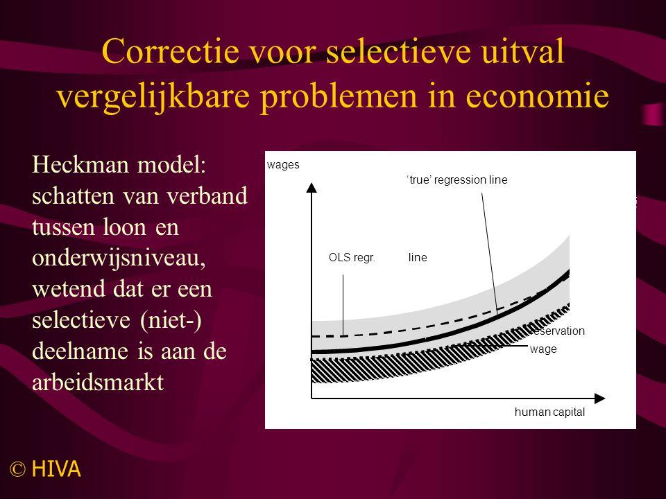 De 'truuk' Maak gebruik van –de invloed van geobserveerde individuele kenmerken van degenen die wel in de steekproef blijven –de correlatie tussen de storingstermen in de kans op blijven en de uitkomstenfunctie om de (niet-observeerbare) uitkomsten te voorspellen voor de 'uitvallers' Bereken vervolgens de gemiddelde uitkomsten voor iedereen