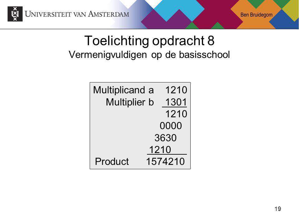 20Ben Bruidegom 20 Vermenigvuldigen binair Multiplicand a 1010 Multiplier b 1101 1010 0000 1010 Product 10000010