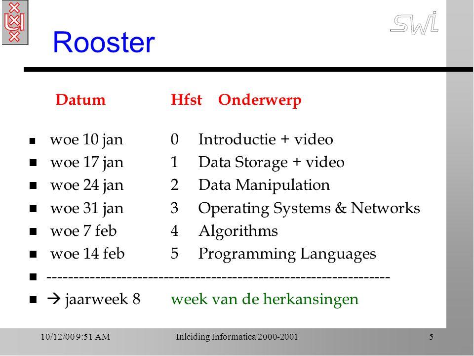 10/12/00 9:51 AMInleiding Informatica 2000-20016 Rooster, vervolg DatumHfst Onderwerp n woe 28 feb.