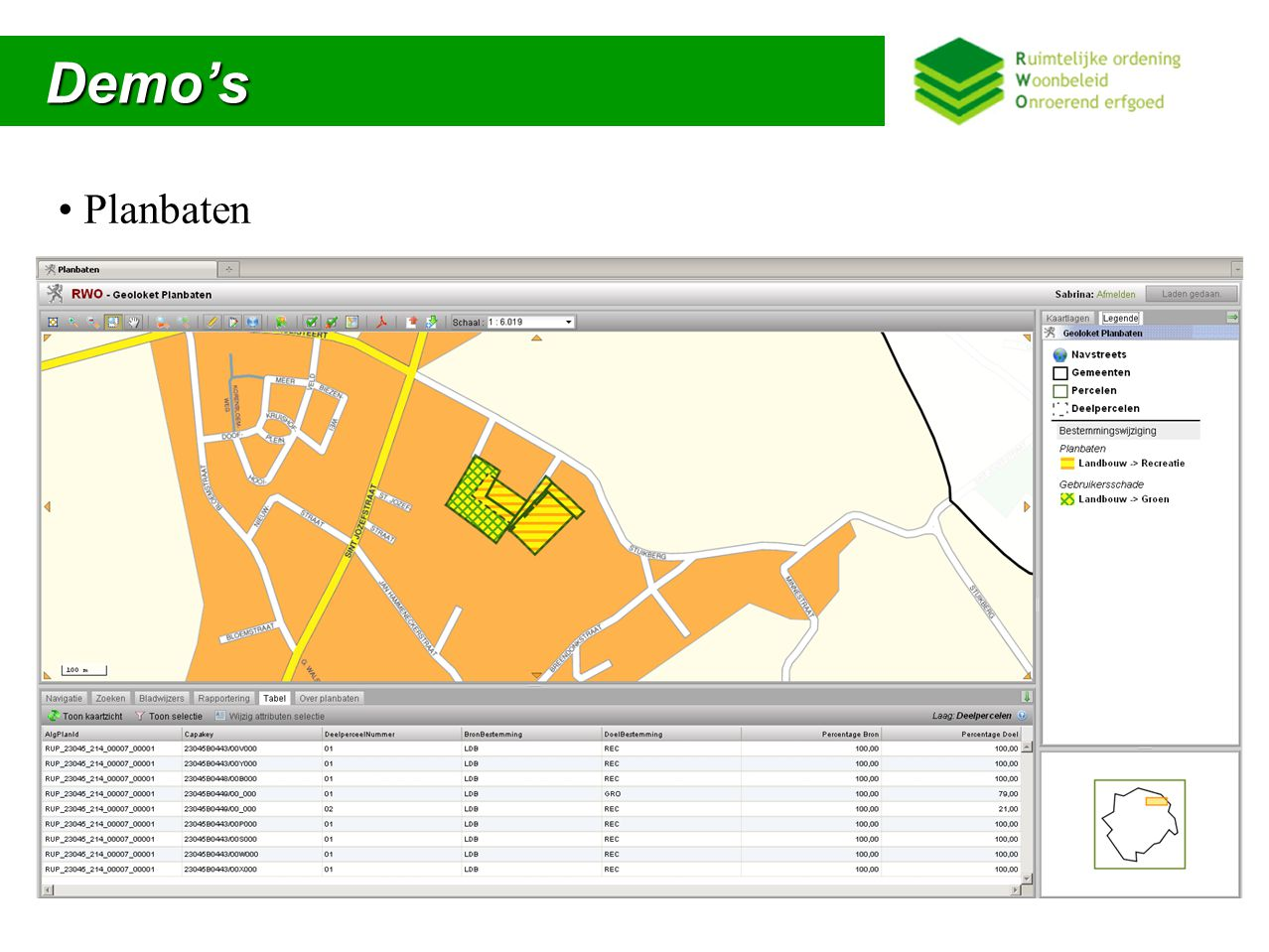 Oefening Oefening Opmaak geografische databank planbaten(deel)percelen Conversie naar XML Import in geoloket gewRUP/proRUP/gemRUP/BPA en Planbaten