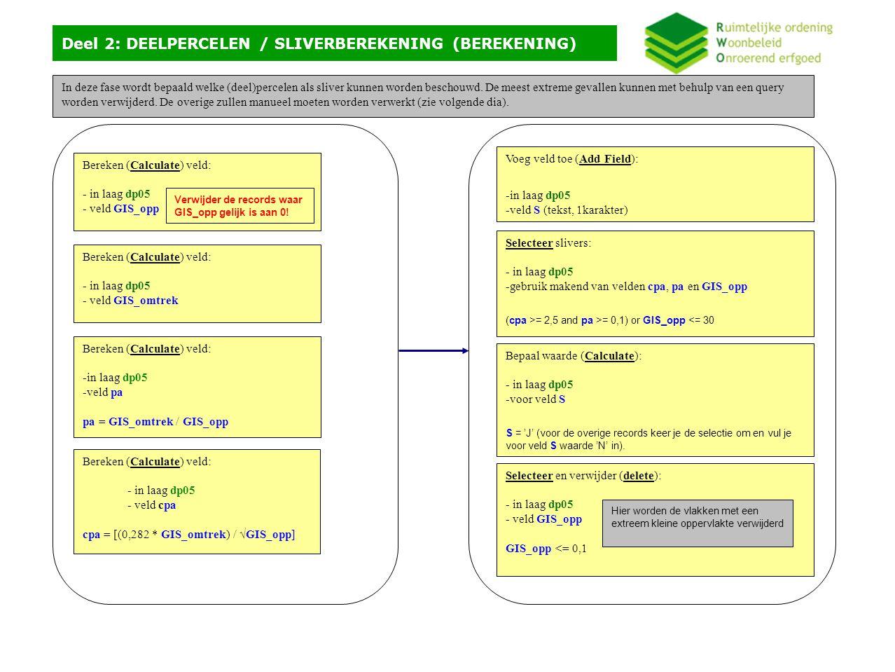 Deel 2: DEELPERCELEN / SLIVERVERWERKING (MANUEEL) bron_best = LDB (gewestplan)doel_best = REC (RUP) Deel van het perceel = sliver (LDB  REC) Bij merge geeft je voorrang aan de perceelsgrens Resultaat is voor het gehele perceel (REC_REC) De sliveropkuis gebeurt door het overlopen van de slivers.