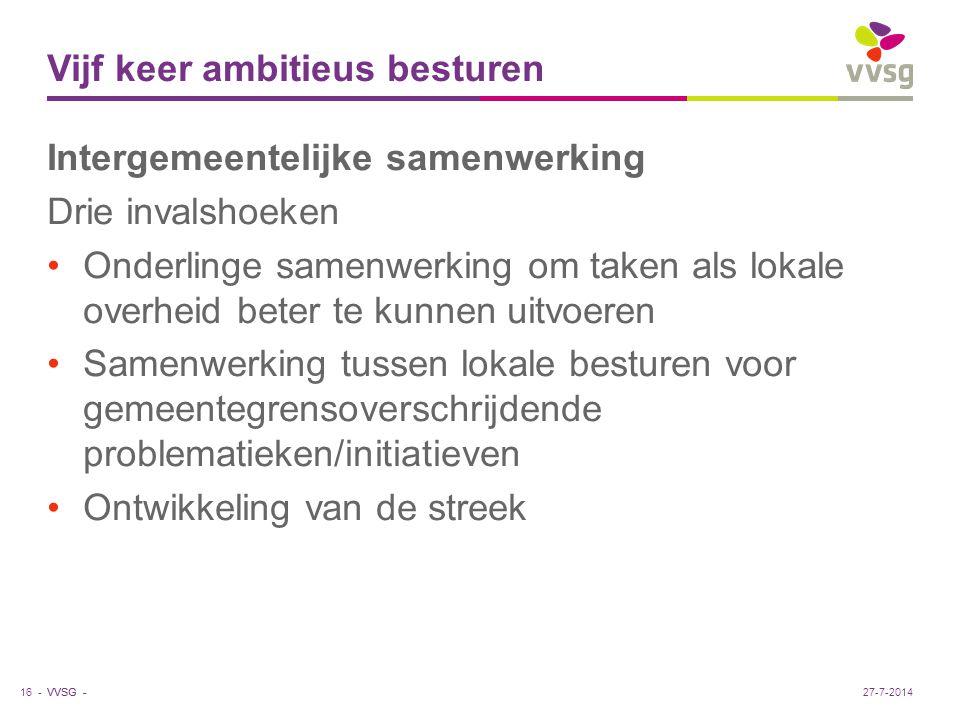 VVSG - Vijf keer ambitieus besturen Kleine schaal samenwerken Intergemeentelijke samenwerking op kleine schaal (bv.