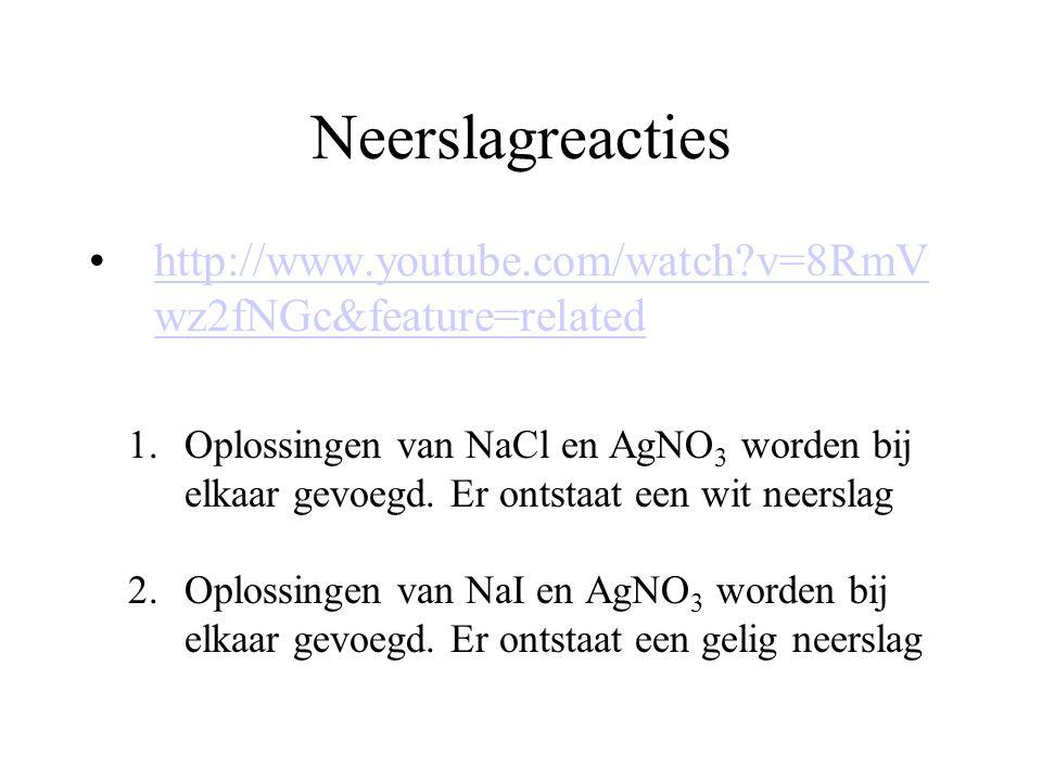 Neerslagreacties http://www.youtube.com/watch?v=8RmV wz2fNGc&feature=relatedhttp://www.youtube.com/watch?v=8RmV wz2fNGc&feature=related 1.Oplossingen van NaCl en AgNO 3 worden bij elkaar gevoegd.