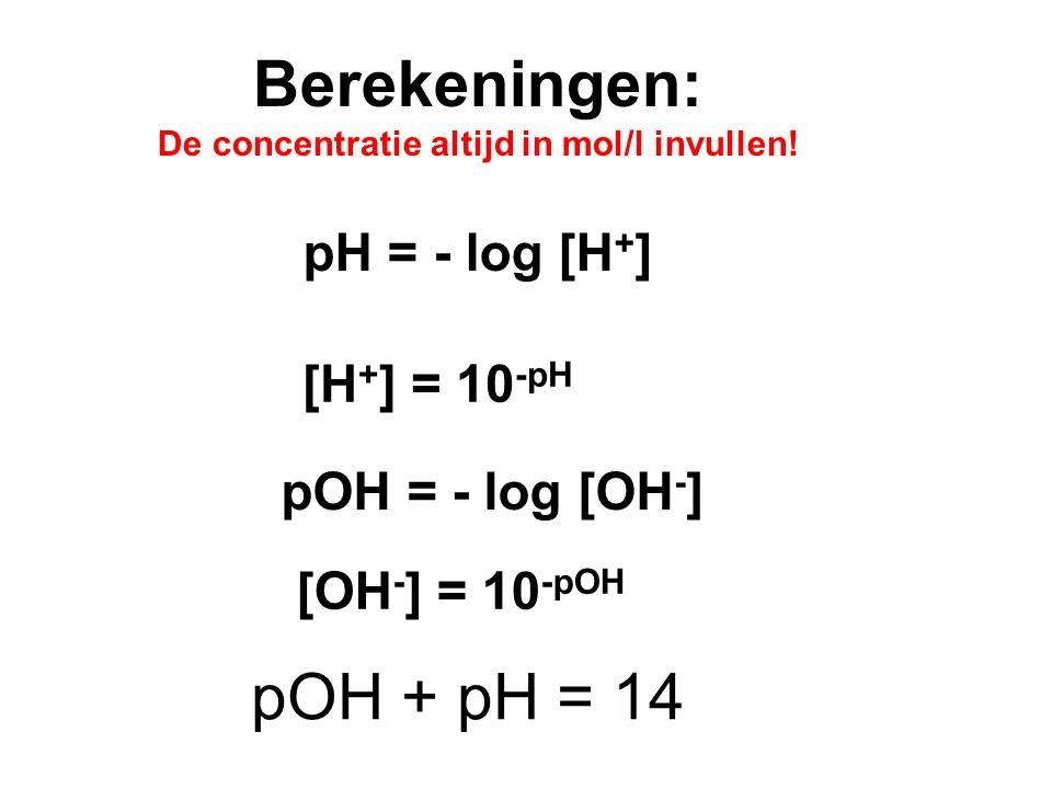 Berekeningen: De concentratie altijd in mol/l invullen.