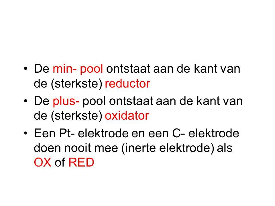 De min- pool ontstaat aan de kant van de (sterkste) reductor De plus- pool ontstaat aan de kant van de (sterkste) oxidator Een Pt- elektrode en een C- elektrode doen nooit mee (inerte elektrode) als OX of RED