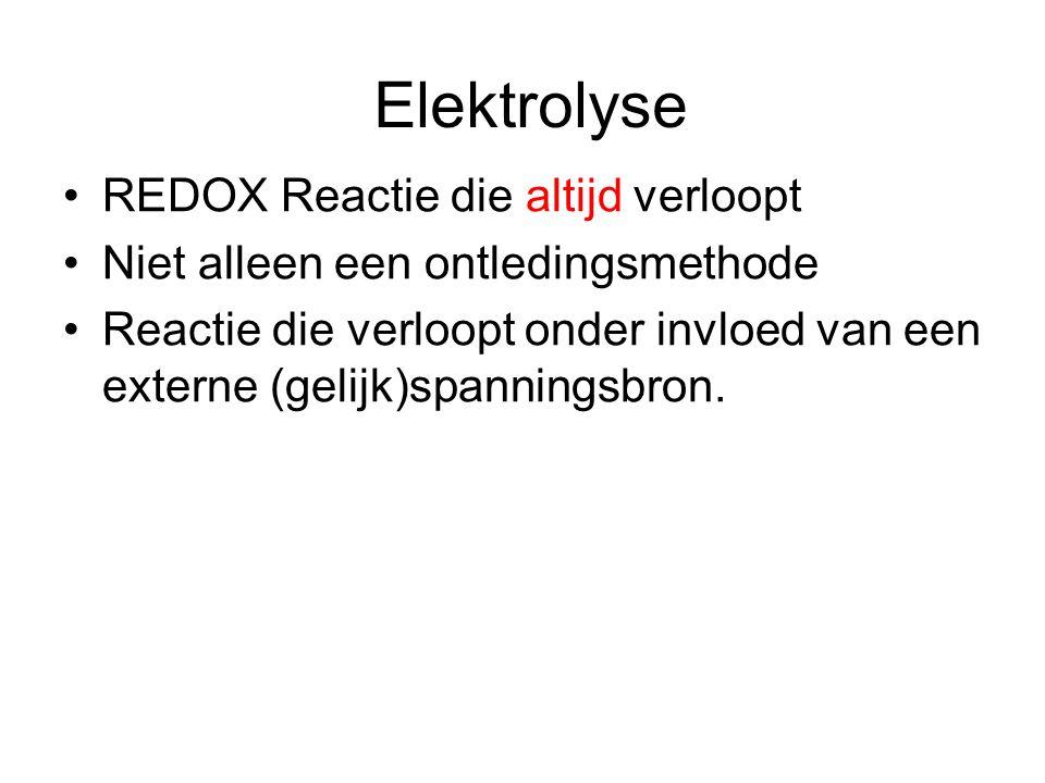 Elektrolyse REDOX Reactie die altijd verloopt Niet alleen een ontledingsmethode Reactie die verloopt onder invloed van een externe (gelijk)spanningsbron.
