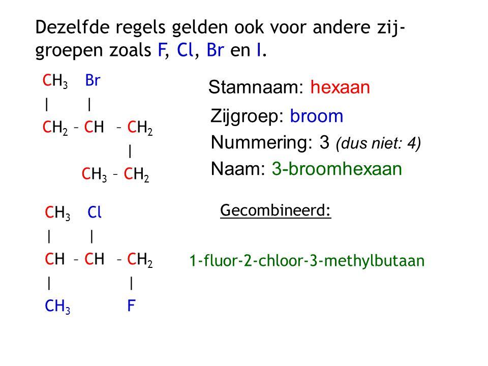 Dezelfde regels gelden ook voor andere zij- groepen zoals F, Cl, Br en I.