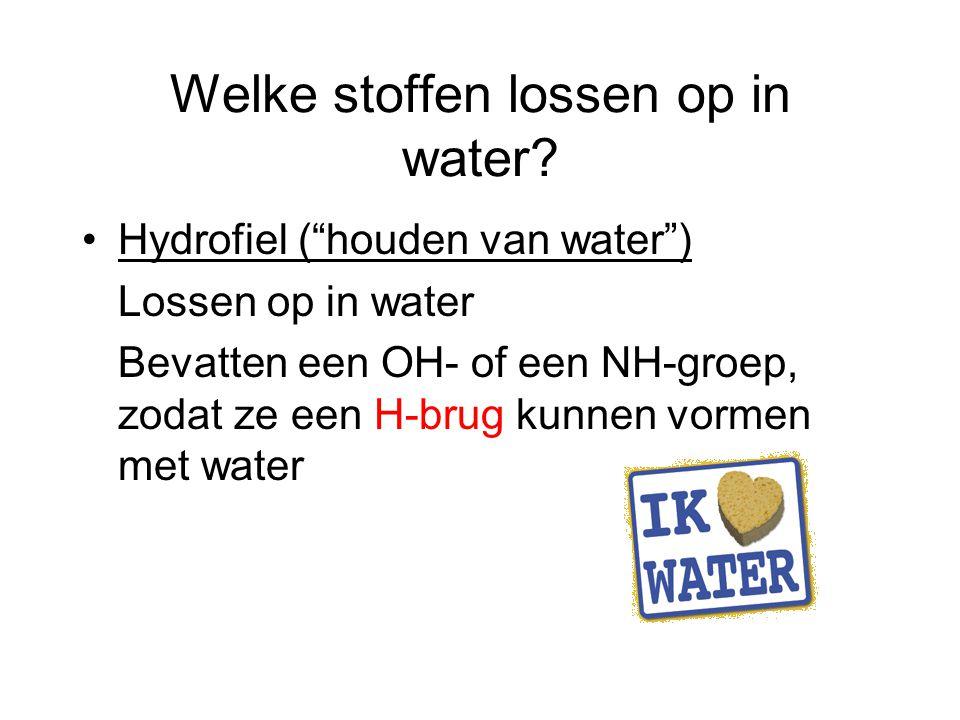 Welke stoffen lossen op in water.