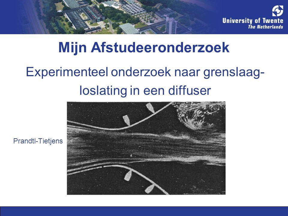 Mijn Afstudeeronderzoek Beïnvloeding van de loslating door grenslaagexcitatie (flow control) Grenslaagafzuiging bovenzijde Grenslaagafzuiging beide zijden Prandtl-Tietjens