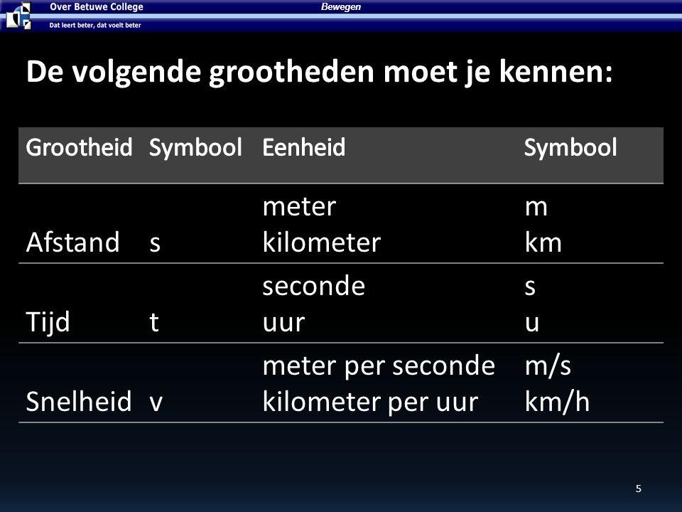 6 Bewegen Afstands meter kilometer m km De afstand tussen Middelburg en Bemmel is 200 kilometer s = 200 km De letter s komt van het woord strada, latijn voor straat