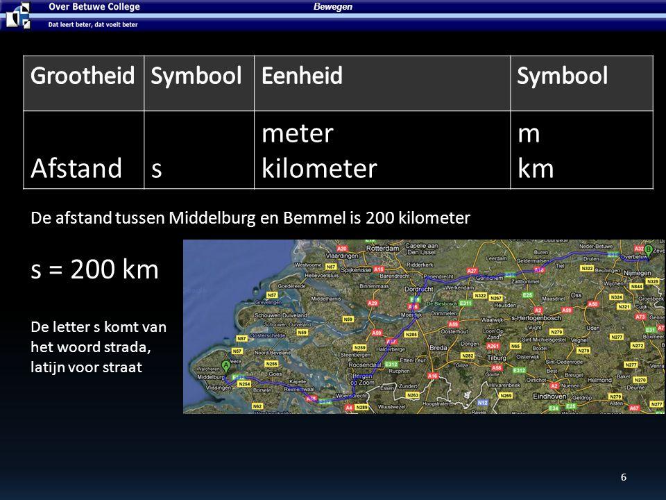 7 Bewegen Tijdt seconde uur susu Van Middelburg tot Bemmel is 2,5 uur rijden t = 2,5 u De letter t komt van het latijnse woord tempo, wat tijd betekent