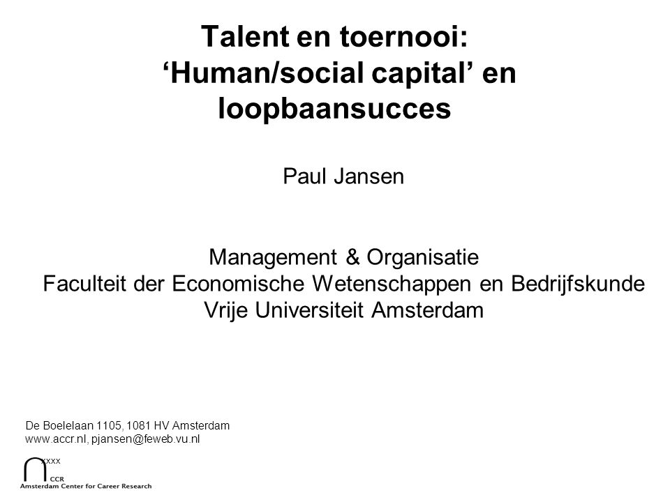xxxx Top management selectie Cruciaal voor prestatie en ontwikkeling Hoe = on-onderzocht terrein: –Successieplanning –TMT kenmerken (Hambrick & D'Aveni) Finkelstein, S., & Hambrick, D.C.