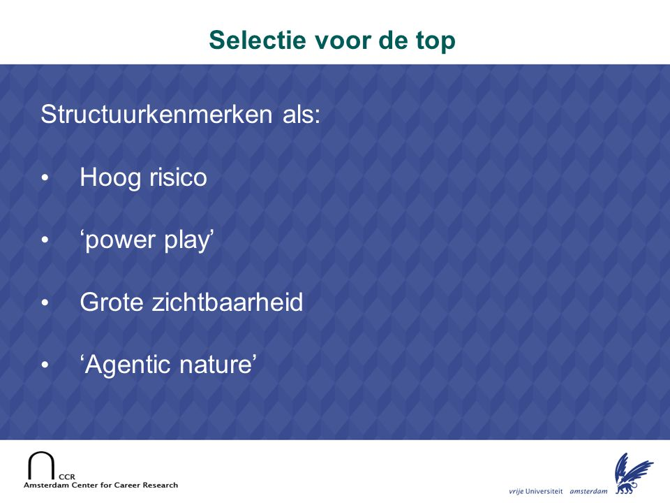 17 Two step selection model Step 2 (high to top levels): Arena selection: interpersonal comparison Criteria: implicit, emergent Behavior in specific and critical job situation            Step 1 (entry to middle levels): Absolute selection: measurement of attributes Criteria: explicit, predetermined Candidates not in direct competition