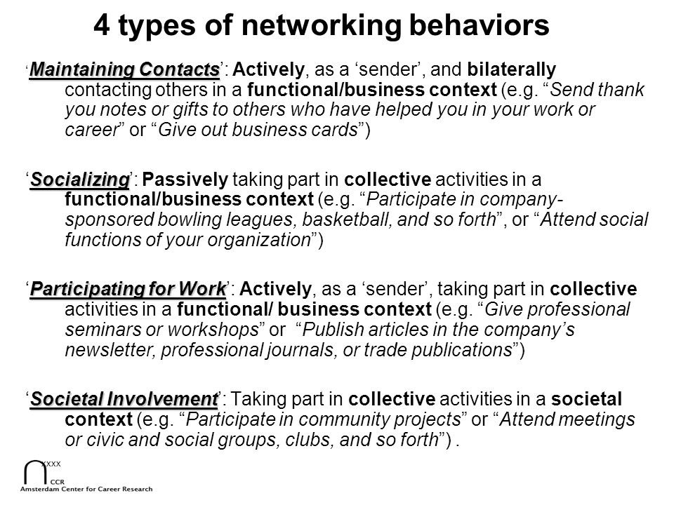 7 Networking behavior  objective career success: Dutch ministry Most effective is Participating for Work: being actively involved in collective, social meetings in a functional/business context males > females To a minor degree effective is Maintaining Contacts: being actively involved in bilateral social meetings in a functional/business context females > males Unrelated to success is Societal Involvement: collective activities in a societal context females = males Negatively related to success is Socializing: passively taking part in collective activities in a functional/business context females > males