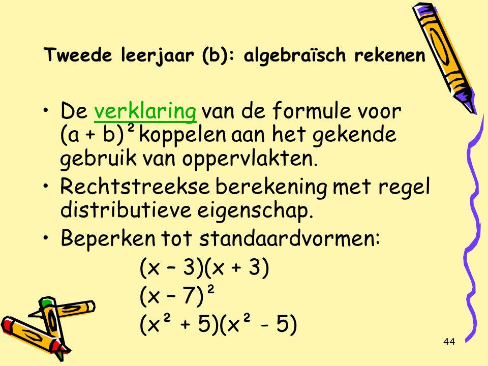 45 Tweede leerjaar (a): vergelijking van de eerste graad in één onbekende 13 B Eigenschappen in verband met gelijkheden kennen.