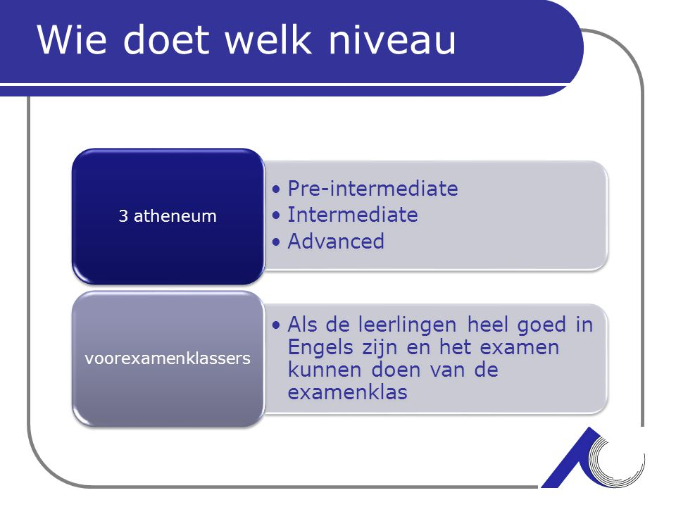 Wie doet welk niveau Pre-intermediate Intermediate Advanced 4 Vmbo-t Advanced Proficiency Masters Business levels 5 havo Proficiency Masters Business levels 6 ath