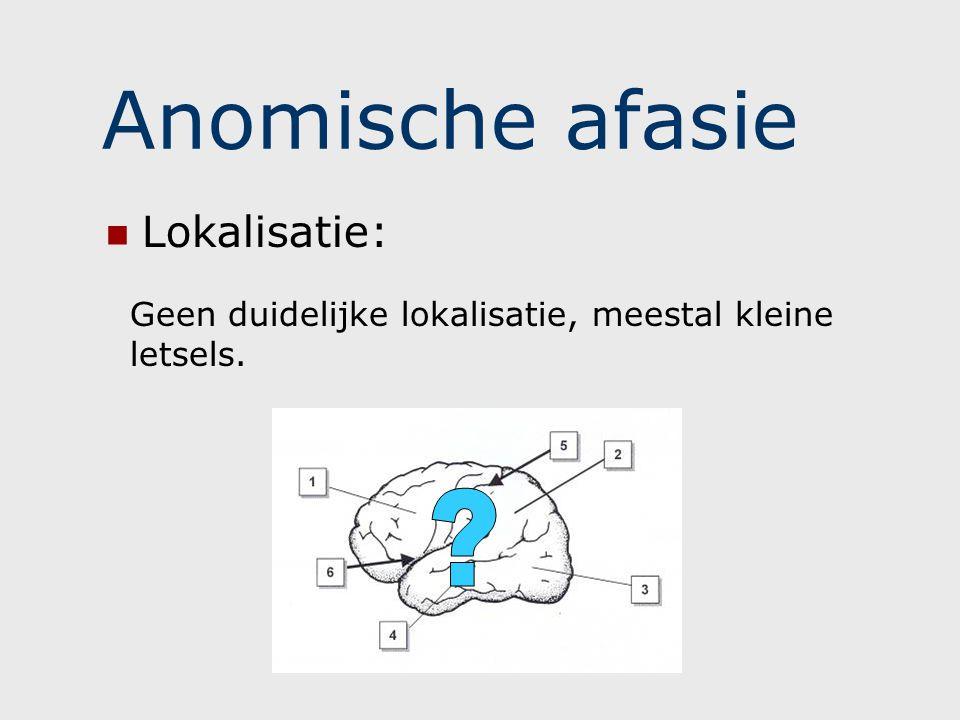 Anomische afasie - taal SPREKEN Vloeiend, maar met blokkades Zinnen worden niet altijd afgemaakt door woordvindingsproblemen Blokkades worden opgevangen door omschrijvingen Parafasieën, vb.