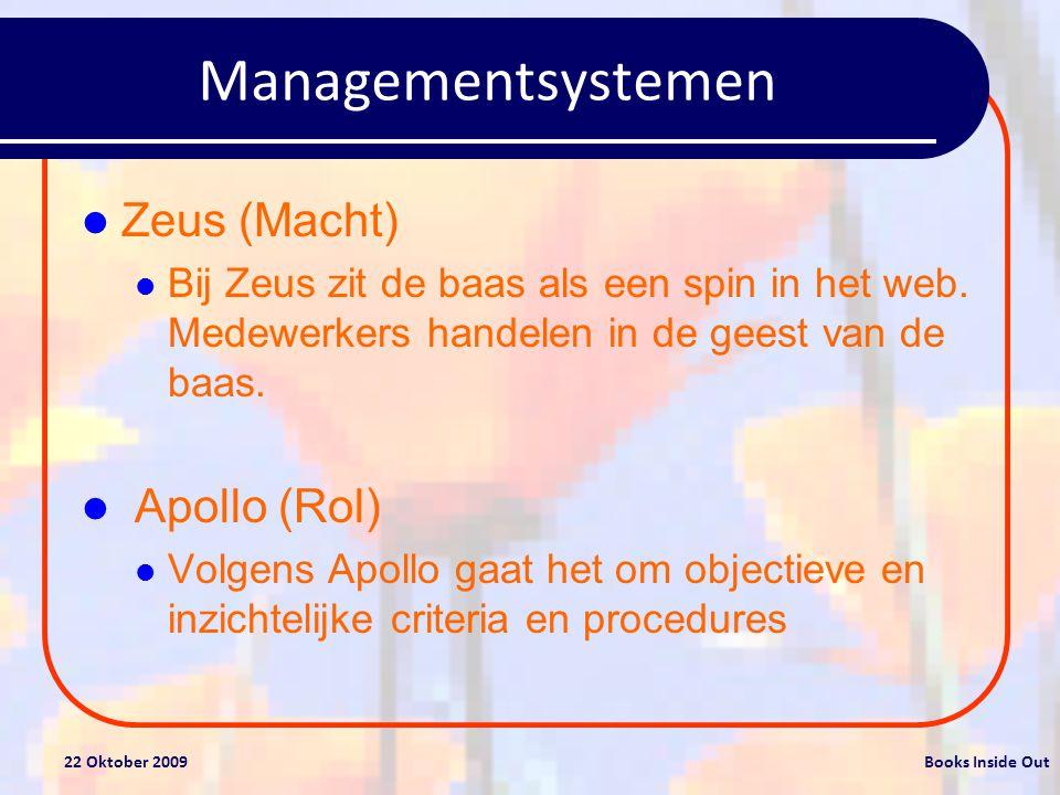 22 Oktober 2009Books Inside Out Managementsystemen Athena (Taak) Bij Athena zijn het doel en het resultaat de enige zaken die tellen.