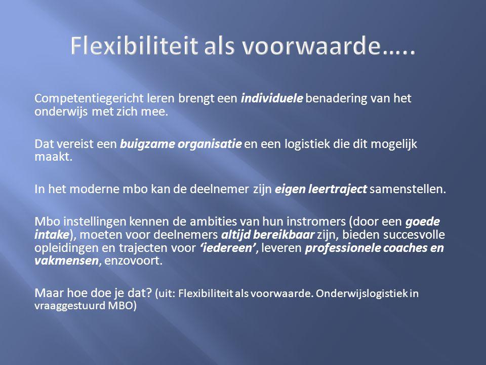 De crux van een flexibele organisatie In het moderne beroepsonderwijs kan de deelnemer zelfstandig en flexibel leren, zowel binnen als buiten de instelling.
