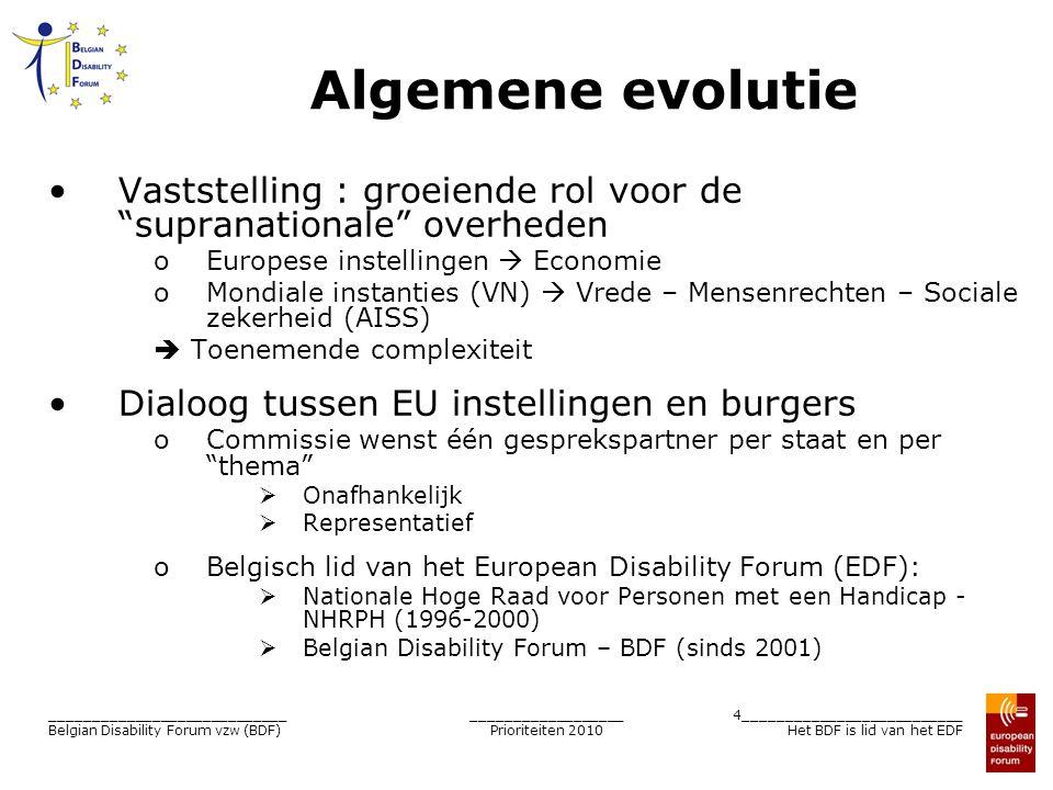 __________________ Prioriteiten 2010 5__________________________ Het BDF is lid van het EDF ____________________________ Belgian Disability Forum vzw (BDF) Belgian Disability Forum Onafhankelijk vzw Werking op basis van ledenbijdrage Representatief Verenigingen die lid zijn : 10 in 2001  19 in 2010 Vertegenwoordigt in totaal 240.000 personen Vertegenwoordigt de ≠ types van handicap