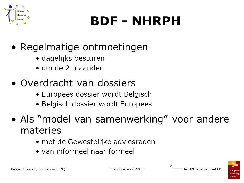 __________________ Prioriteiten 2010 7__________________________ Het BDF is lid van het EDF ____________________________ Belgian Disability Forum vzw (BDF) België : een kwestie van gedeelde bevoegdheden 5 niveaus + 1 Elk niveau heeft zijn eigen bevoegdheden Elke niveau kan beschikken over een vertegenwoordigende structuur PmH