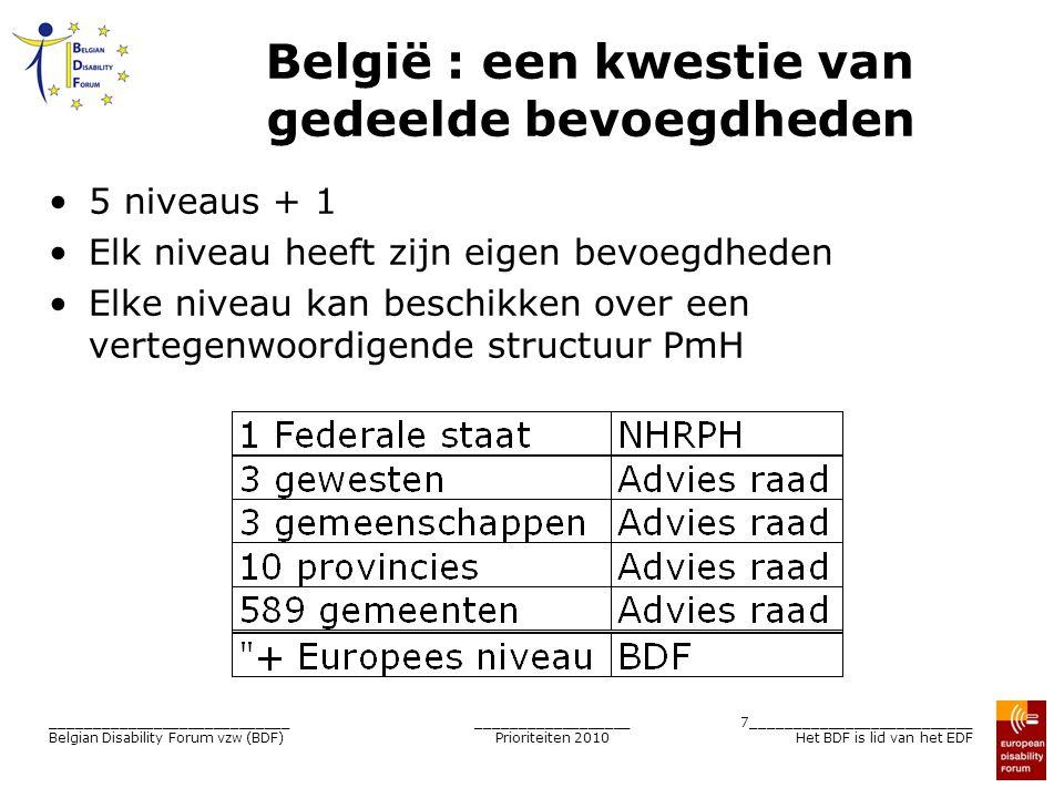 __________________ Prioriteiten 2010 8__________________________ Het BDF is lid van het EDF ____________________________ Belgian Disability Forum vzw (BDF) BDF = lid van het EDF BDF vertegenwoordigt België binnen het EDF EDF gestructureerd op 2 palen: –Nationale raden: één per ledenstaat –ONG (Blind Europe, Inclusion Europe…) BDF is actief – in het EDF Algemene vergadering : Pierre Gyselinck Lid van het bureau : beurtrol Voorbereiding vergaderingen in het Bureau van het BDF – in de Raad van Beheer : Gisèle Marlière Voorbereiding vergaderingen in het Bureau van het BDF  BDF = de stem van de Belgische personen met een handicap binnen de Europese Unie