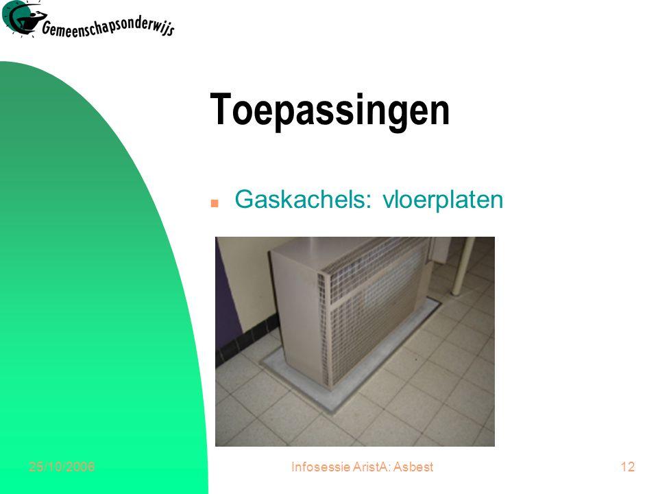 25/10/2006Infosessie AristA: Asbest13 Toepassingen n Gaskachels: dichtingskoord uitlaat