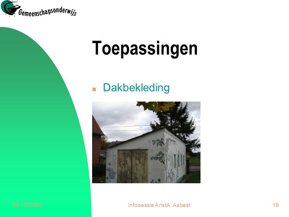 25/10/2006Infosessie AristA: Asbest20 Toepassingen n Deurdorpels