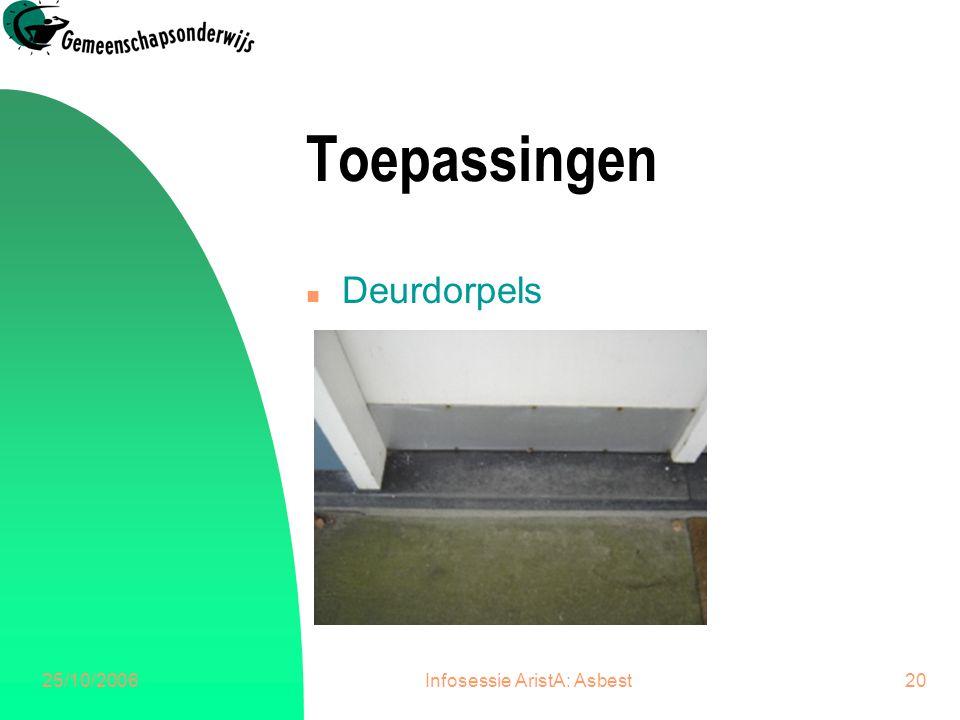 25/10/2006Infosessie AristA: Asbest21 Toepassingen n Venstertabletten