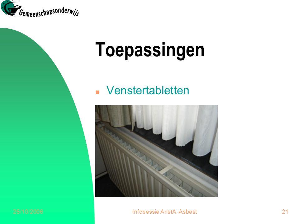 25/10/2006Infosessie AristA: Asbest22 Toepassingen n Plafondplaten