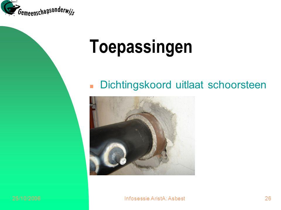 25/10/2006Infosessie AristA: Asbest27 Toepassingen n Plafondplaten stookplaats