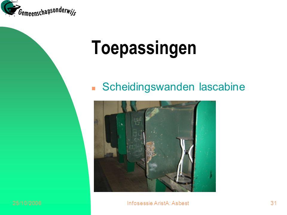 25/10/2006Infosessie AristA: Asbest32 Toepassingen n Scheidingswanden sanitair