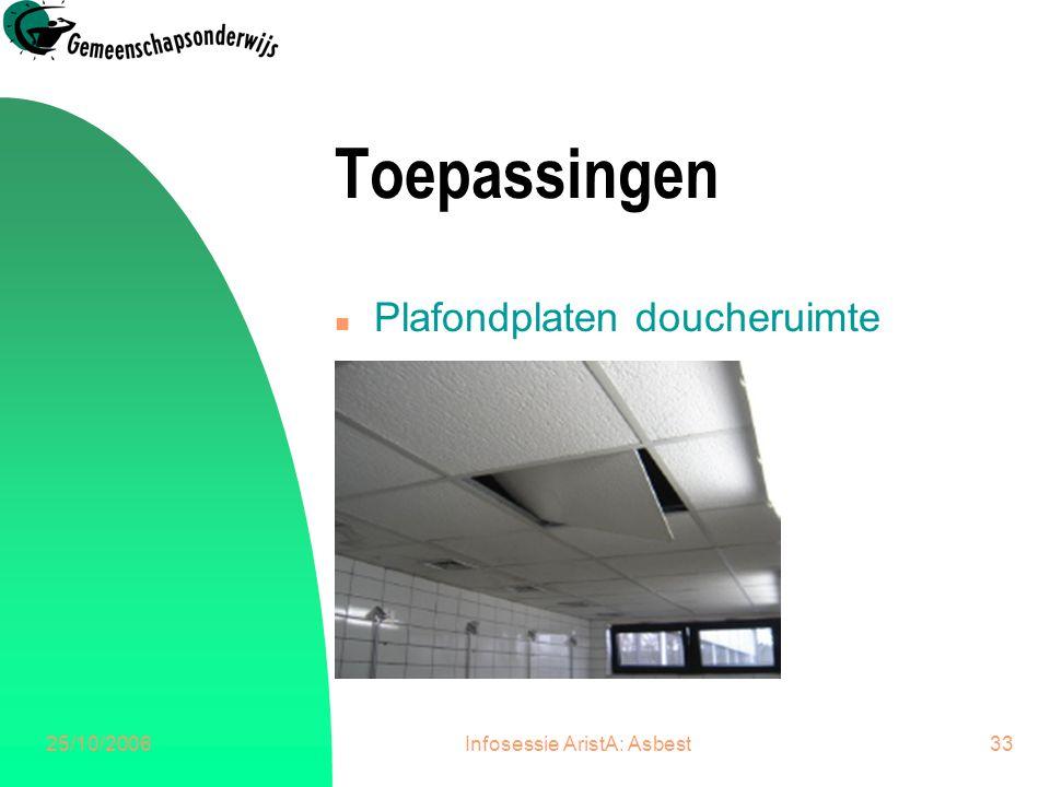 25/10/2006Infosessie AristA: Asbest34 Toepassingen n Panelen waskleerkasten