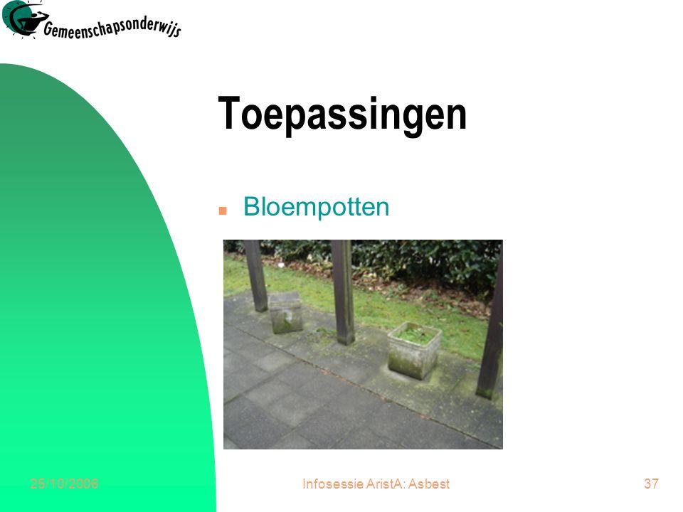 25/10/2006Infosessie AristA: Asbest38 Toepassingen n Rugwand kleerkasten
