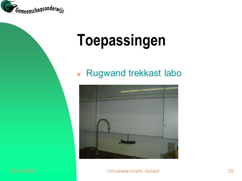 25/10/2006Infosessie AristA: Asbest40 Toepassingen n Draadnetjes