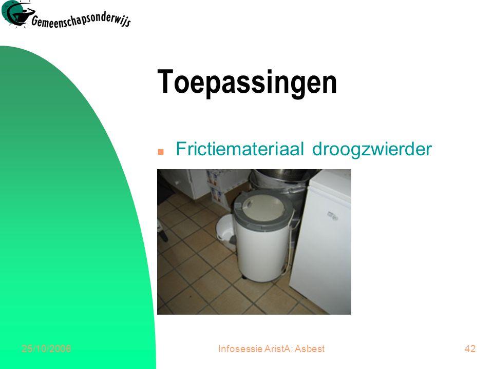 25/10/2006Infosessie AristA: Asbest43 Besluit n Aandacht bij renovatie.