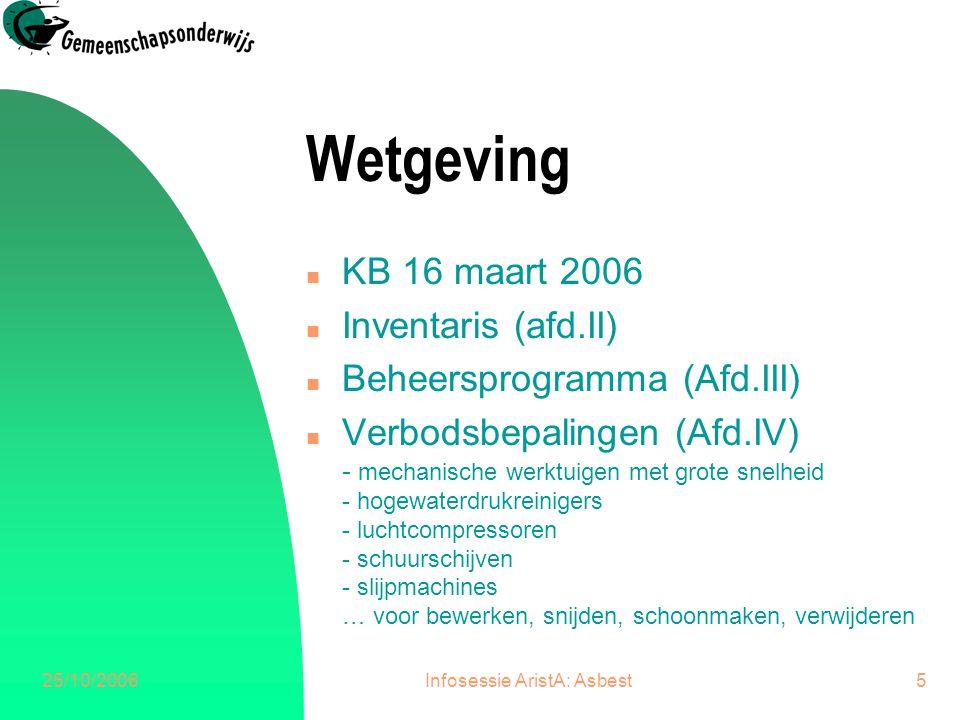 25/10/2006Infosessie AristA: Asbest6 Wetgeving n Zeer beperkte blootstelling (Afd.VIII) - verwijderen van niet beschadigde hechtgebonden materialen, vb schoolbord,..