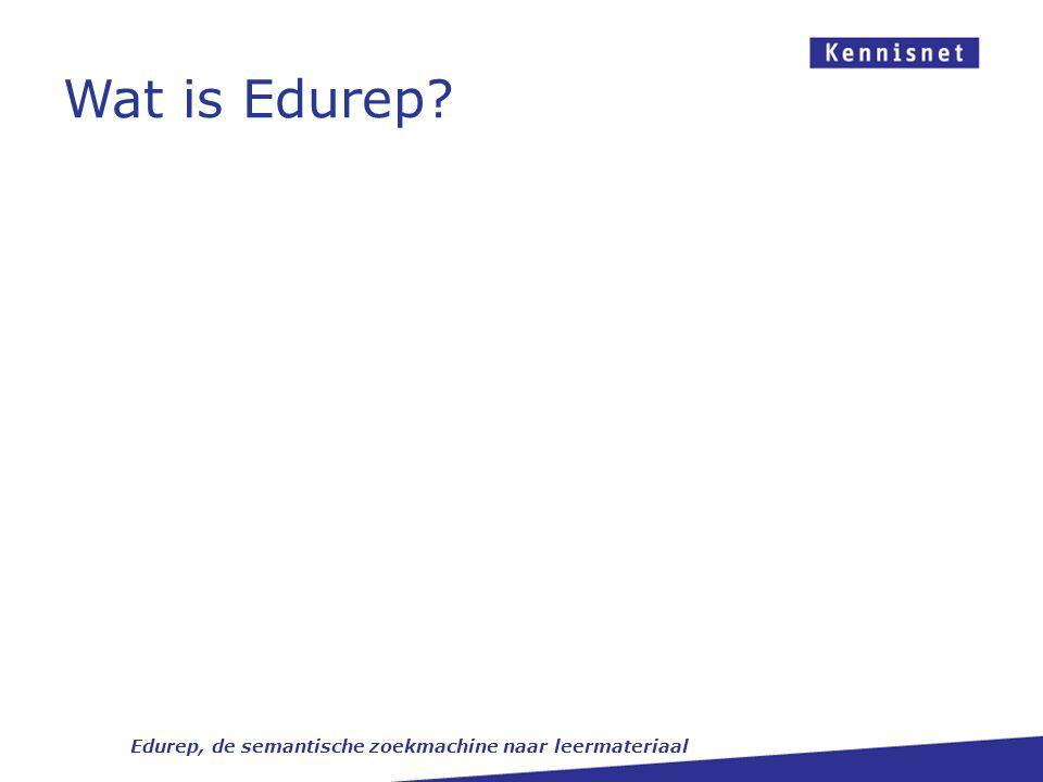 Edurep en andere KN-diensten Edurep, de semantische zoekmachine naar leermateriaal Zoeken en vinden Zoekportalen Identificatie Collecties Authenticatie