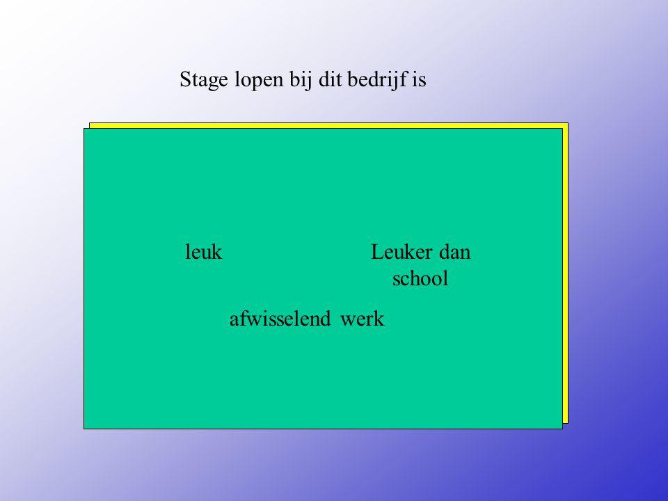Stage lopen bij dit bedrijf is leuk afwisselend werk Geef je mening: Verwijder de woorden die niet waar zijn.