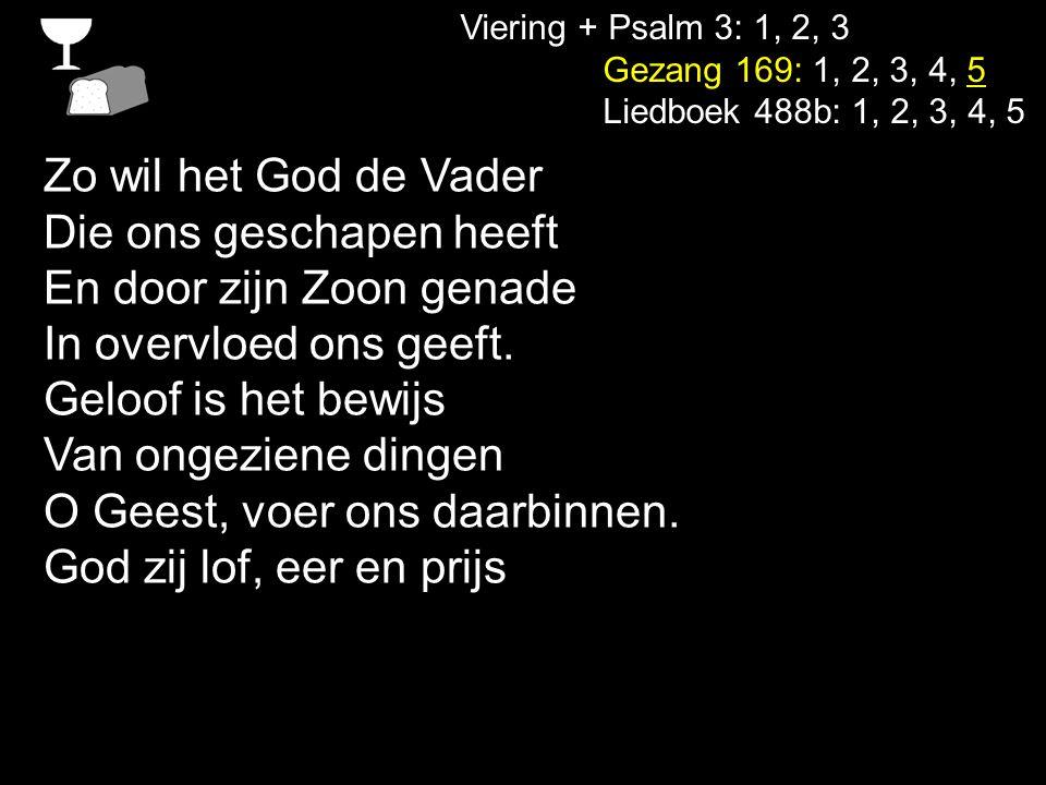 Viering + Psalm 3: 1, 2, 3 Gezang 169: 1, 2, 3, 4, 5 Liedboek 488b: 1, 2, 3, 4, 5 Zolang er mensen zijn op aarde, zolang de aarde vruchten geeft, zolang zijt Gij ons aller Vader, wij danken U voor al wat leeft.