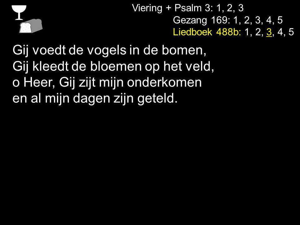 Viering + Psalm 3: 1, 2, 3 Gezang 169: 1, 2, 3, 4, 5 Liedboek 488b: 1, 2, 3, 4, 5 Gij zijt ons licht, ons eeuwig leven, Gij redt de wereld van de dood.
