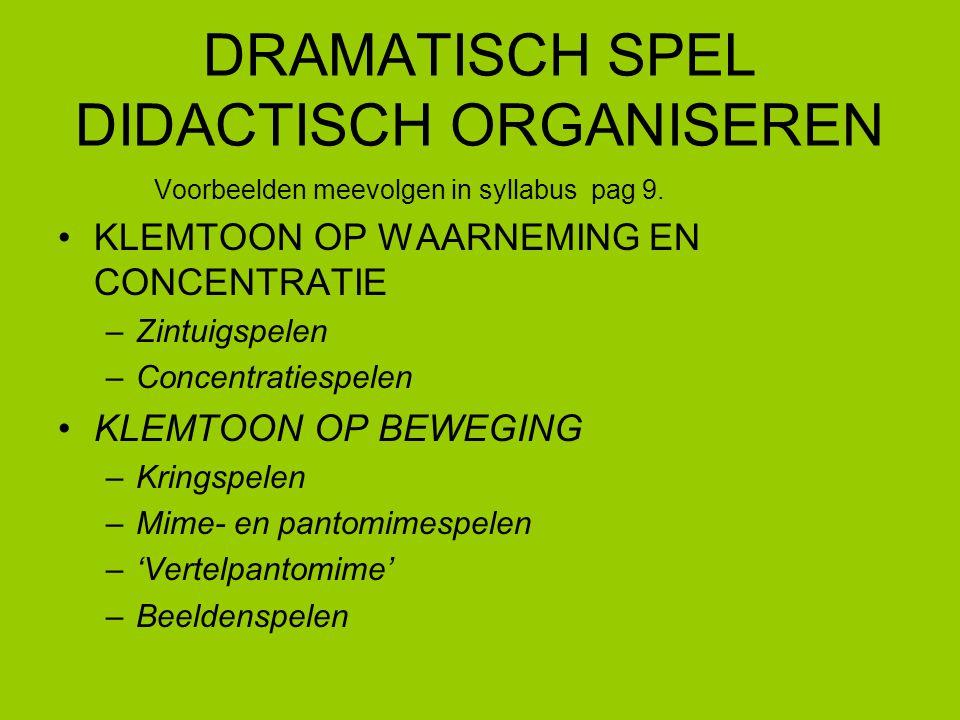 5 DRAMATISCH SPEL DIDACTISCH ORGANISEREN KLEMTOON OP IMPROVISATIE EN TAAL –Improvisatiespelen –'Poppenhoek', materiaalkoffer –Rollenspelen