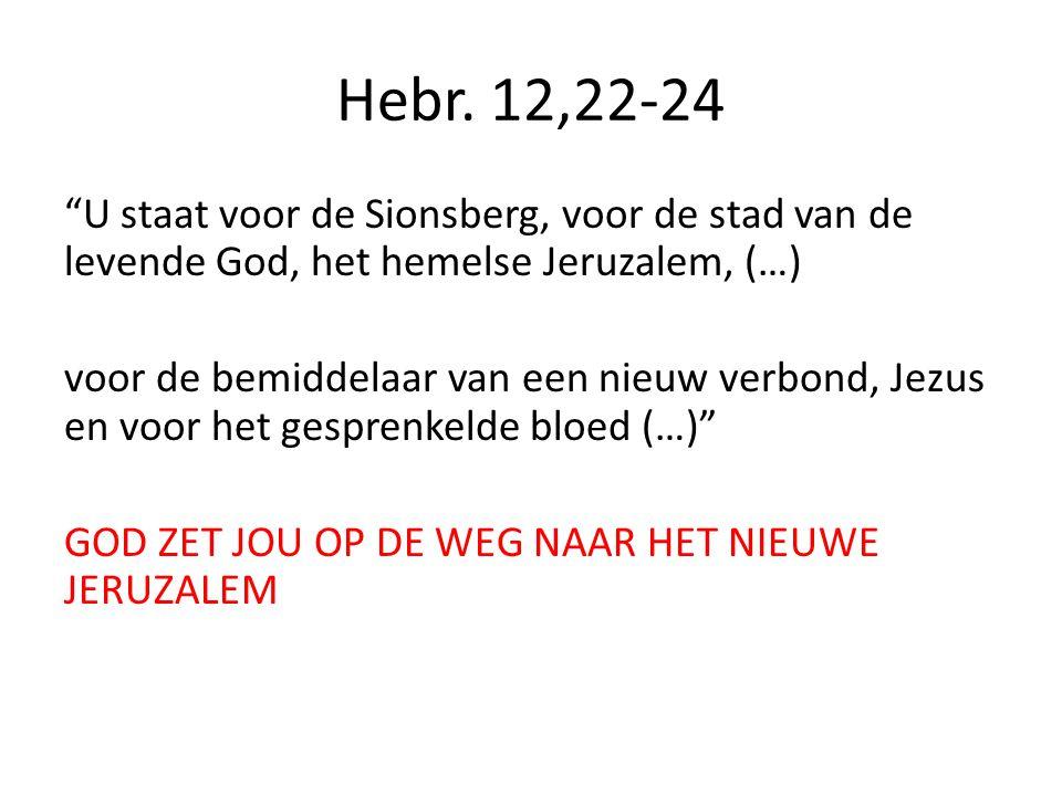 Hebr. 13,13 Laten we dus het kamp verlaten, ons bij hem voegen en delen in zijn vernedering