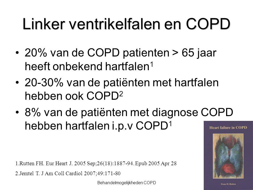 Ondervoeding bij COPD: oorzaken Toegenomen ademarbeid Luchtweginfecti e Verhoogd energieverbruik Chronische inflammatie Benauwdheid Verminderde eetlust Vermoeidheid Verhoogde behoefte door longdefect / systemisch effect Verlaagde inname door longdefect / systemisch effect