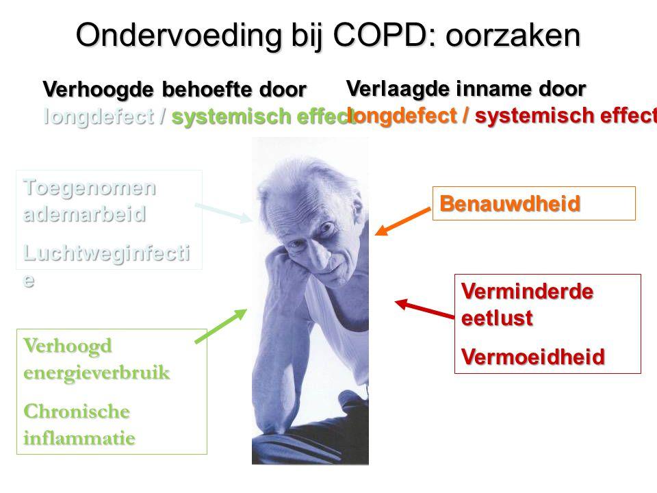 25Behandelmogelijkheden COPD Gewichtsverlies en COPD BMI<21 Laatste maand >5% afgevallen Laatste 6 maanden >10% afgevallen Vetvrije massa index ♂ ≤ 16 kg / m² ♀ ≤ 15 kg / m² NAAR DIETISTE