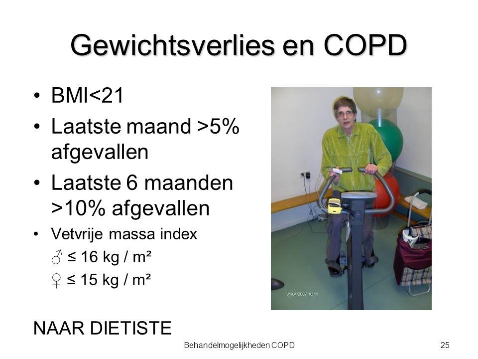 26Behandelmogelijkheden COPD Inactiviteit Probleem in alle stadia van COPD van vroeg (Gold 1) tot ver gevorderd (Gold 3-4): stapelen van risicofactoren Stimuleren actieve levensstijl (gedragsverandering) Nederlandse Norm Gezond Bewegen: een half uur matig intensief bewegen op tenminste 5 maar bij voorkeur alle dagen van de week