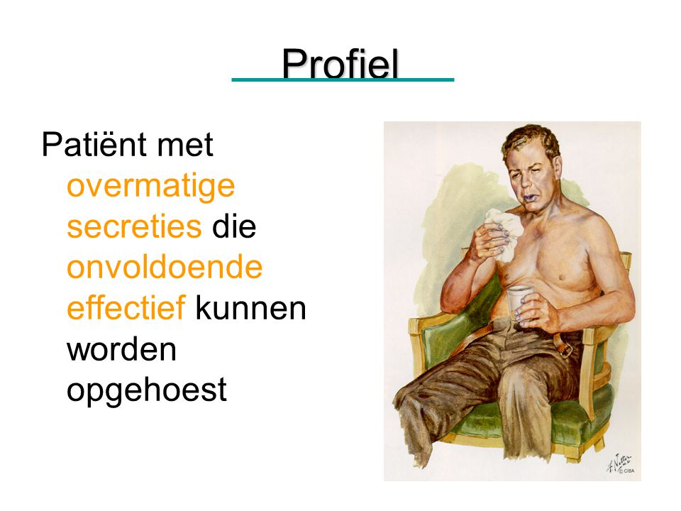 36Behandelmogelijkheden COPD Mucusklaring Activeren Leren hoesten / huffen Ademhalingsoefeningen (collateraalventilatie) Educatie / hygiene Houdingsdrainage / Flutter / PEP / percussie of vibratie