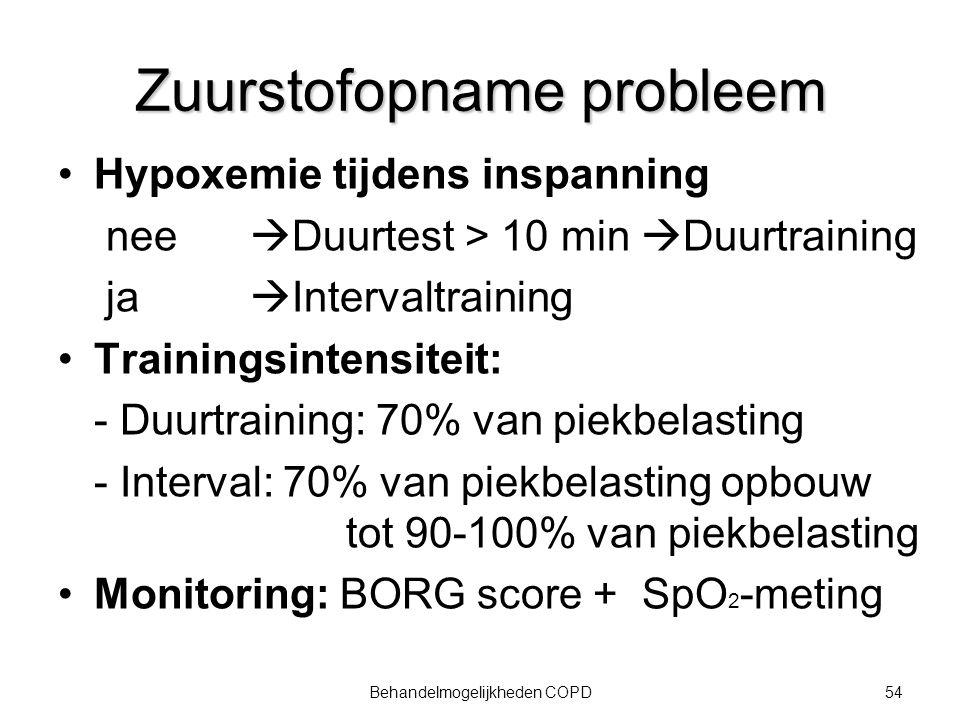 55Behandelmogelijkheden COPD Perifere Spierkracht Spierkrachttraining met weerstanden Spierkrachttraining middels duur- of intervaltraining Trainingsintensiteit weerstandstraining: - 60-80% van 1 RM - 2 á 3 sets - 8 á12 herhalingen